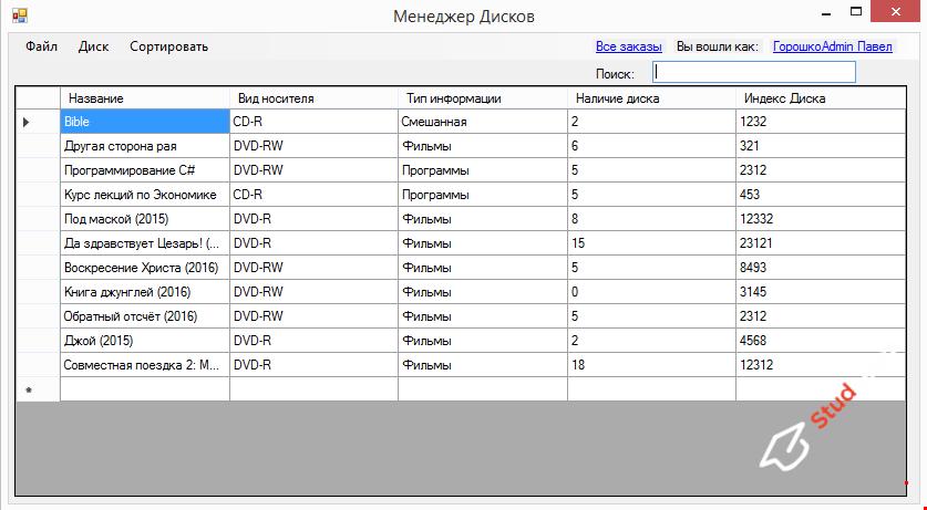"Программа ""Магазин Дисков"" C#"
