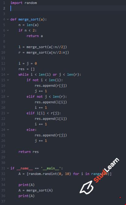 Сортировка слиянием(merge sort) | Python