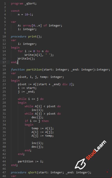 Быстрая сортировка(quick sort) | Pascal