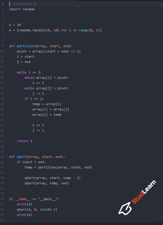 Быстрая сортировка(quick sort) | Python