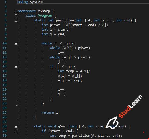 Быстрая сортировка(quick sort) | C#