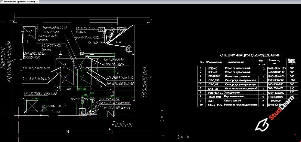 Столовая на 100 мест AutoCAD (дипломный проект+7 чертежей)