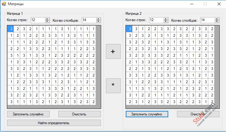 Операции над матрицами C#