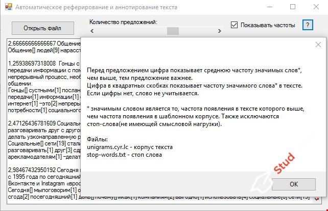 Автоматическое реферирование текста C#